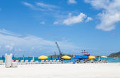 Beach Umbrellas and Crane — Stock Photo