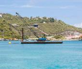 Blue Crane on Barge in Caribbean — Stock Photo