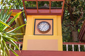 Colorful Clock Tower in Philipsburg — Stock Photo