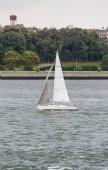 White Sailboat in Choppy Water — Stock Photo