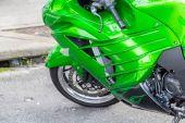 Green Cowling on Sports Bike — Stock Photo
