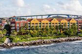 Colorful Resort Beyond Seawall in Curacao — Stock Photo