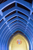 Blue Arches and Round Stained Glass — Stock Photo