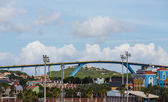 Massive Blue and Yellow Bridge Over Curacao — Stock Photo
