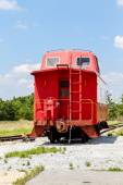 Red Caboose Under Blue Sky — Stock Photo