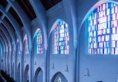 Columns and Stained Glass — Stock Photo
