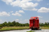 Caboose Beside Tracks — Stock Photo