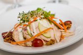 Sliced Chicken Breast with Vegetables and Dressing — Stock Photo