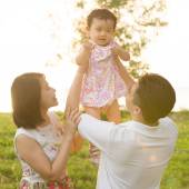 Asian family playing at outdoor  — Foto de Stock