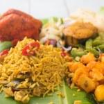 Indian biryani rice on banana leaf. — Stock Photo #53439159