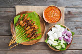 Malaysian chicken satay — Stock Photo