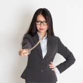 Asian female teacher holding a stick — Stock Photo