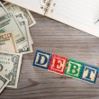 Banknotes and debt word. — Stock Photo #67801927