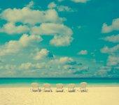 Vintage beach chair — Stok fotoğraf