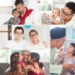 Collage photo of fathers and children — Stock Photo #72169147
