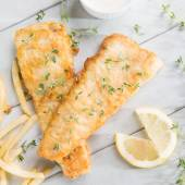 Overhead view fish and chips — Stock Photo
