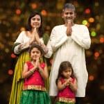 Indian family greeting on diwali — Stock Photo #82194372
