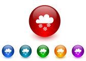 Snow internet icons colorful set — Stock Photo