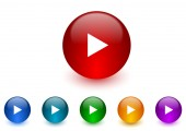 Play internet icons colorful set — Stock Photo