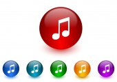 Music internet icons colorful set — Stok fotoğraf