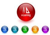 Larning internet icons colorful set — Stock Photo