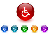 Wheelchair internet icons colorful set — Stock Photo