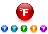 Fahrenheit internet icons colorful set — Stock Photo