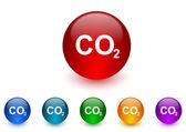 Carbon dioxide internet icons colorful set — Stock Photo