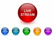Live stream internet icons colorful set — Stock Photo