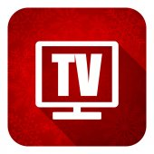 Tv flat icon, christmas button, television sign — Stock Photo