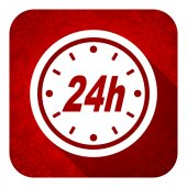 24h flat icon, christmas button — Stock Photo