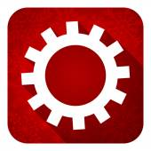 Gears flat icon, christmas button, options sign — Stock Photo