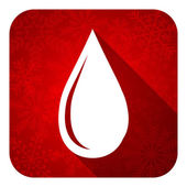 Water drop flat icon, christmas button — Stock Photo