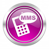 Mms violet icon phone sign — Stock Photo