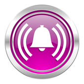 Alarm violet icon alert sign bell symbol — Stock Photo