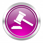 Auction violet icon court sign verdict symbol — Stock Photo