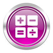 Calculator violet icon calc sign — Stock Photo