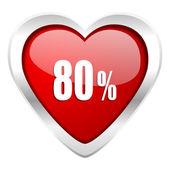 Segno di vendita di 80 per cento San Valentino icona — Foto Stock
