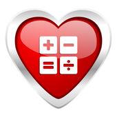 Calculator valentine icon calc sign — Stock Photo