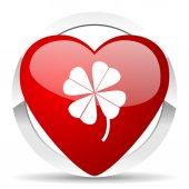 Four-leaf clover valentine icon — Stock Photo