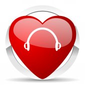 Headphones valentine icon  — Fotografia Stock