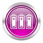 Battery violet icon power sign — Stock Photo