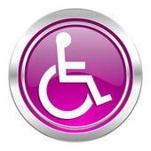 Wheelchair violet icon  — Stock Photo