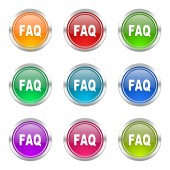 Faq icons set — Stock Photo