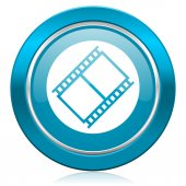 Film blue icon movie sign cinema symbol — Stock Photo