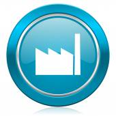 Factory blue icon industry sign manufacture symbol — Stock Photo