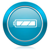 Battery blue icon charging symbol power sign — Stock Photo