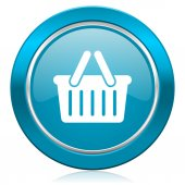 Cart blue icon shopping cart symbol — Stock Photo