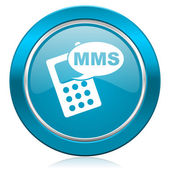 Mms blue icon phone sign — Stock Photo