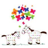Cute horses — 图库矢量图片